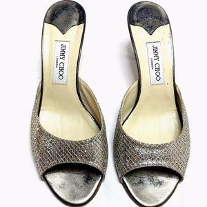Jimmy Choo Shoes - Jimmy Choo Mule Heel Pump Sandals Silver
